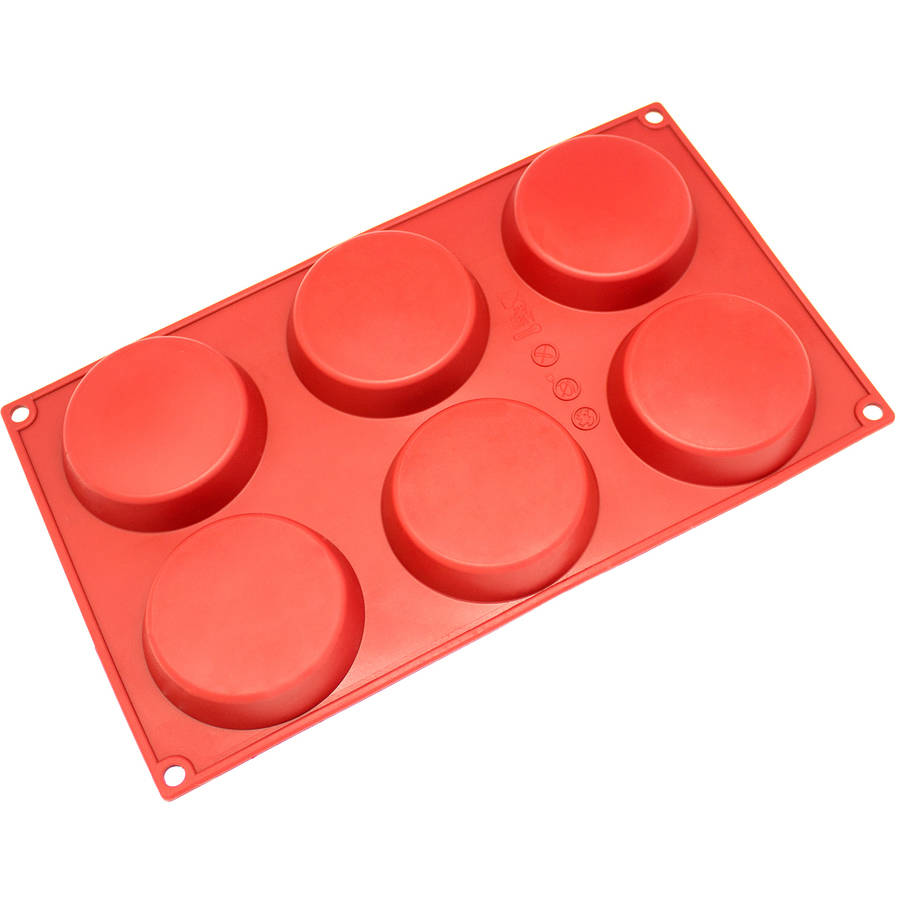Freshware 6-Cavity Small Disc Silicone Mold for Resin Coaster, Cake, Pie, Custard and Tart, SM-116RD