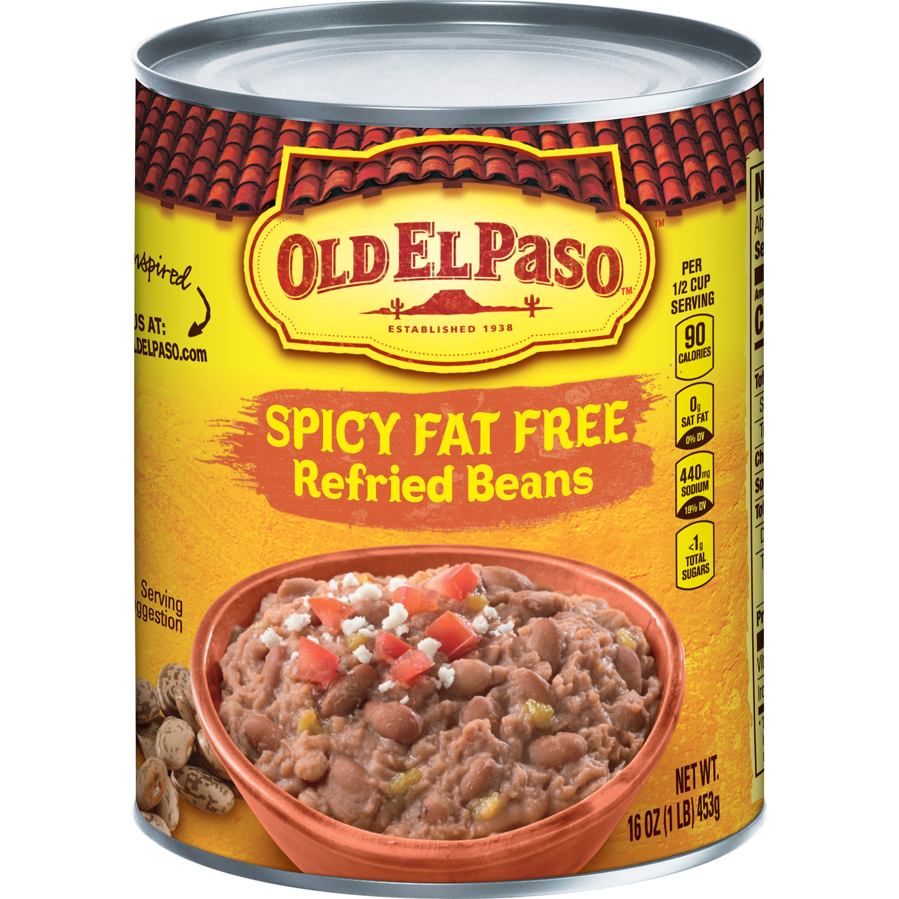 Old El Paso Spicy Fat Free Refried Beans, 16 oz Can