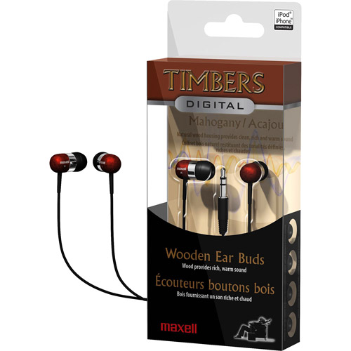 Maxell Timbers - Earphones - in-ear - wired - 3.5 mm jack - mahogany