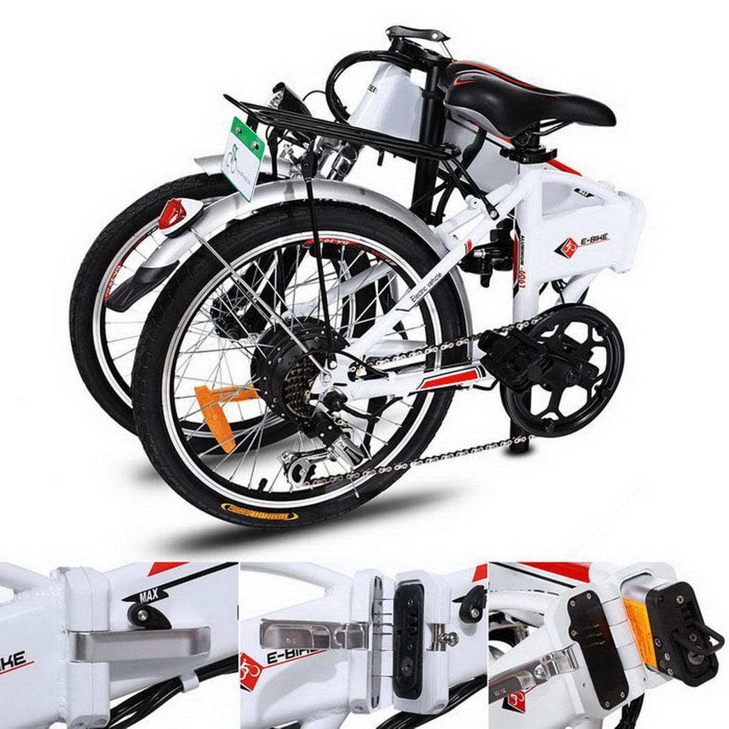 "Folding Electric Bike 18.7"" Aluminum Alloy Frame Mountain Bike Cycling sports Bicycle White"