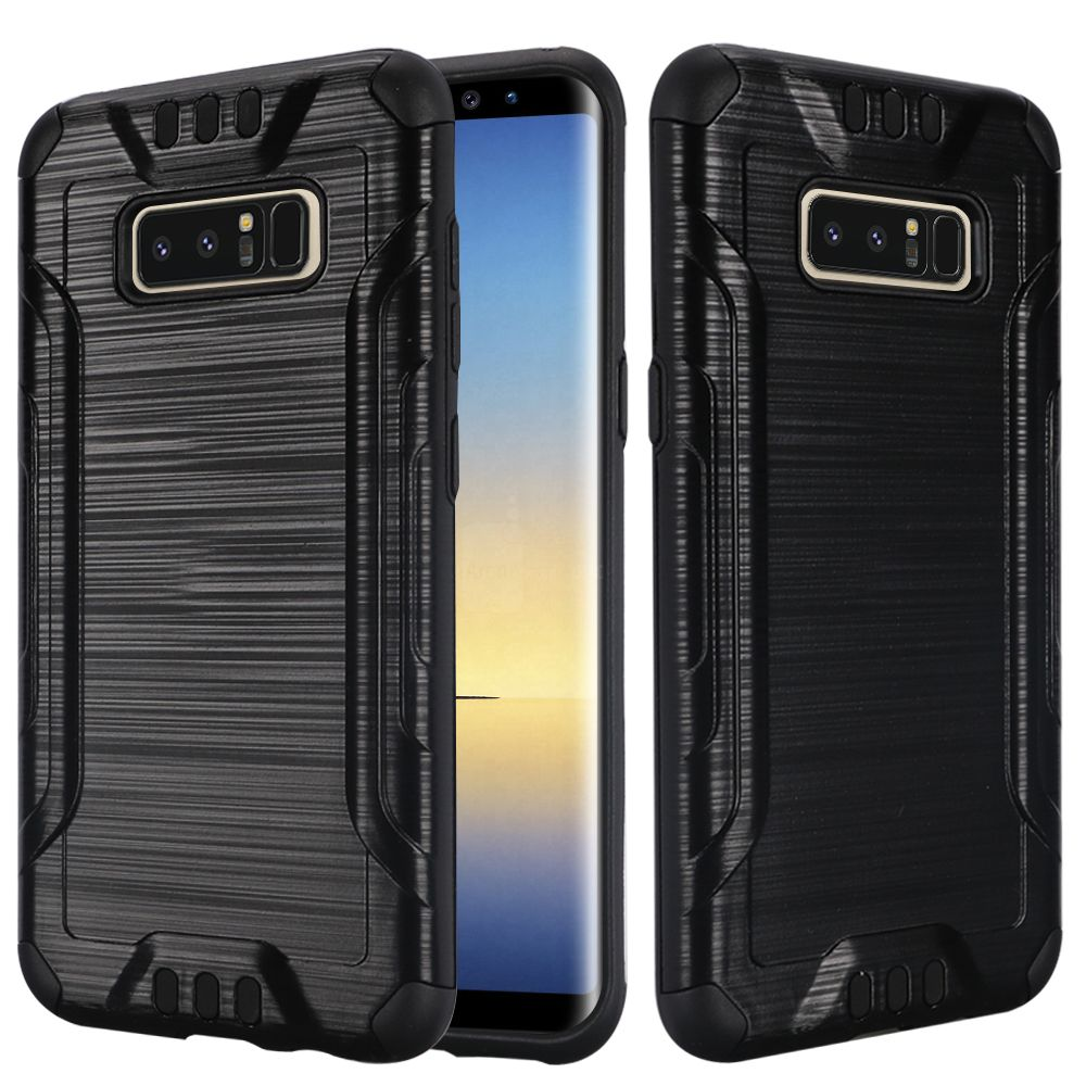 Kaleidio Case For Samsung Galaxy Note 8 [Combat Armor] Protective Brushed Metallic [Shockproof] Impact Hybrid Cover w/ Overbrawn Prying Tool [Black/Black]