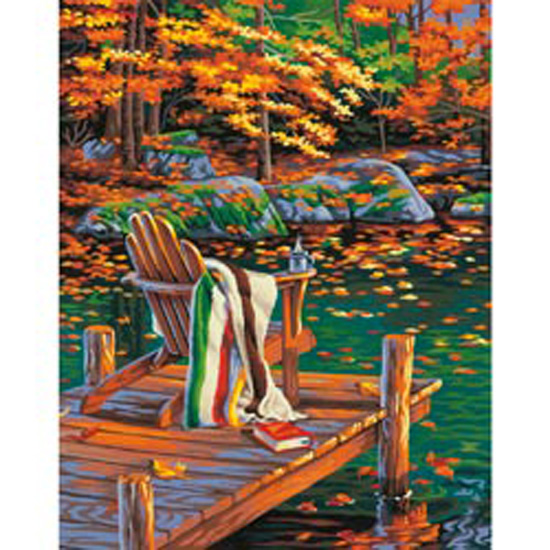 Dimensions Crafts 73-91468 Paint Works Paint by Number Kit, Golden Pond Multi-Colored