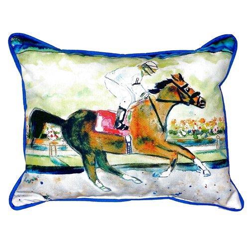 Betsy Drake Interiors Racing Horse Indoor/Outdoor Lumbar Pillow
