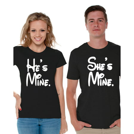 Awkward Styles Couples Shirts He is Mine She is Mine Matching Couple Shirts He is Mine She is Mine T-shirts for Couples Anniversary Gifts Funny Couple Shirts Valentines Day Couple Matching Outfits - Homecoming Couples Outfits