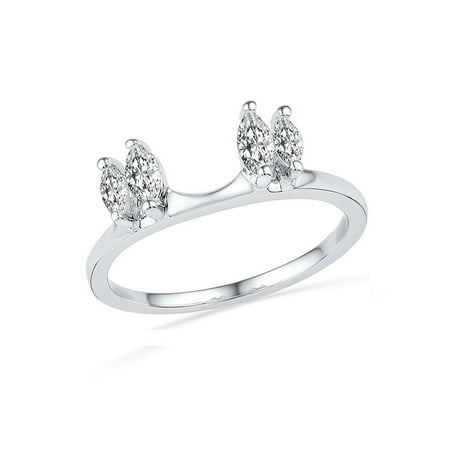 14kt White Gold Womens Oval Diamond Ring Guard Wrap Solitaire Enhancer 1/2 Cttw Diamond Fine Jewelry Ideal Gifts For Women Gift Set From Heart ()