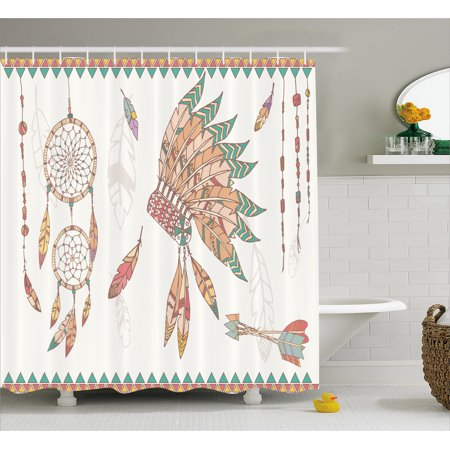 Native Americans Feathers - Feather Shower Curtain, Primitive Chief Headdress Arrows Dreamcatchers Native American, Fabric Bathroom Set with Hooks, 69W X 70L Inches, Sea Green Sand Brown Dark Coral, by Ambesonne
