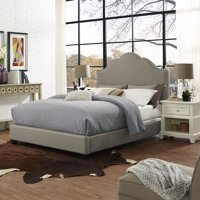 Preston Camelback Upholstered King Bedset In Shadow Gray Linen
