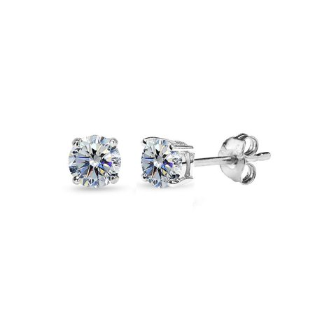 Sterling Silver 4mm Clear Stud Earrings Made with Swarovski Crystals ()