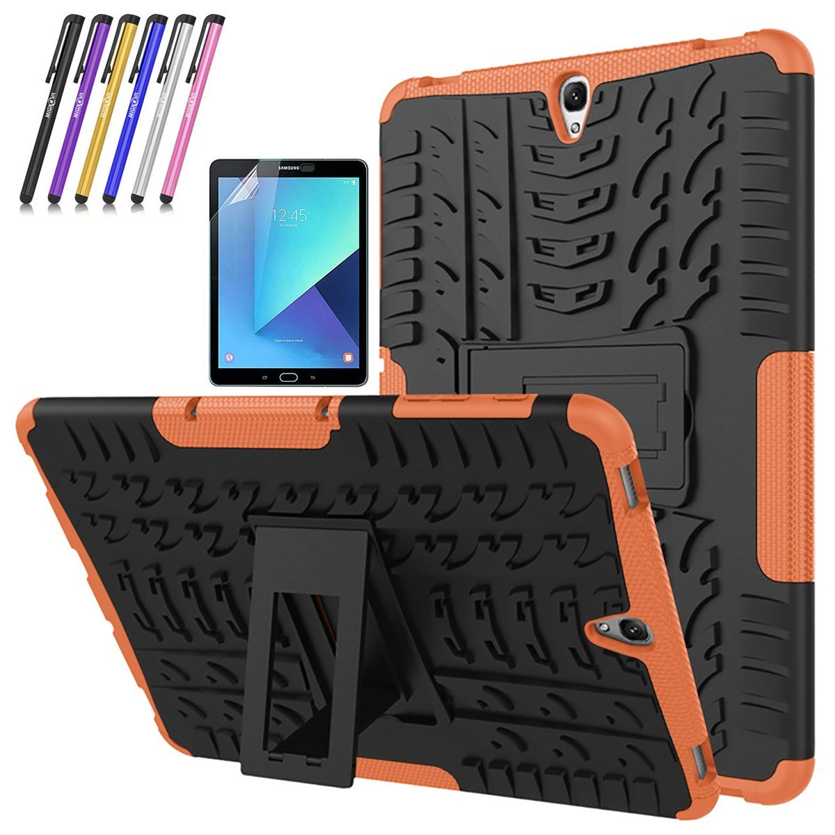 Galaxy Tab S3 9.7 Case, Mignova Hybrid Protection Cover Built-In Kickstand Skin Case For Samsung Galaxy Tab S3 9.7 inch (2017 SM-T820 T825) + Screen Protector Film and Stylus Pen (Purple)