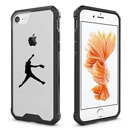 For Apple iPhone Clear Shockproof Bumper Case Hard Cover Female Softball Pitcher (Black For iPhone