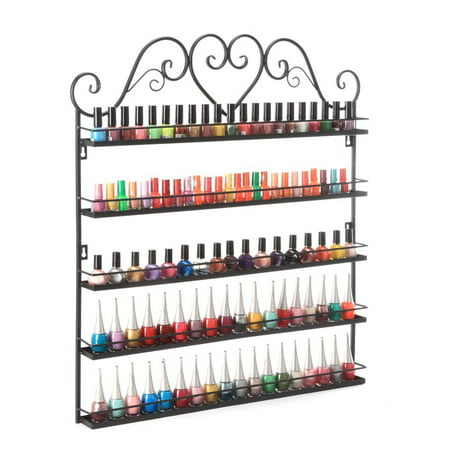 Dazone Nail Polish Wall Rack 5-Layer Organizer Holds 100 Bottles Nail Polish Shelves (Black) (Nail Wall Cross)