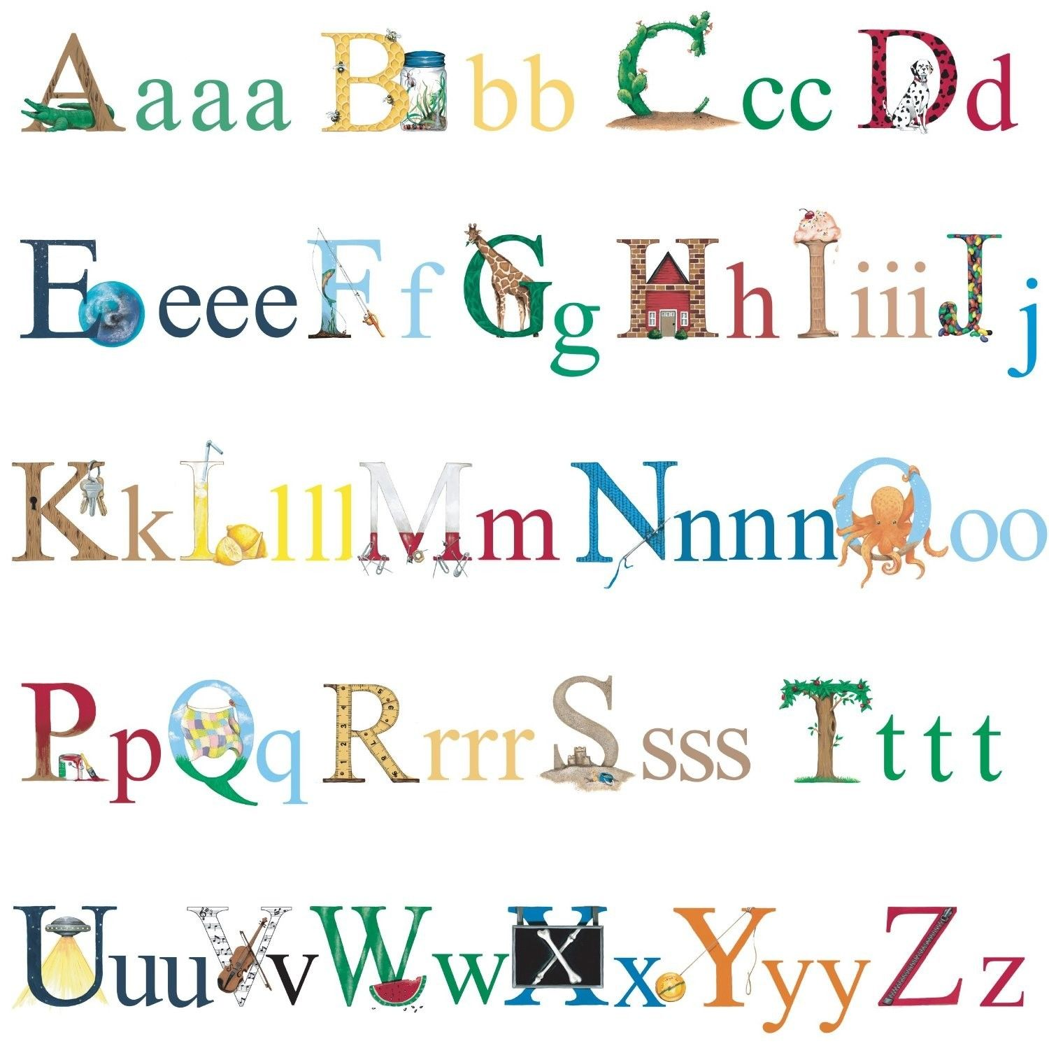 ALPHABET 73 BiG Wall Decals ABC School Kids Letters Room Decor Stickers Border