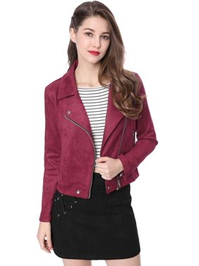 b7fe67536a0 Product Image Unique Bargains Women s Convertible Collar Zip Up Faux Suede Moto  Jacket Red (Size XL