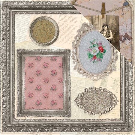 7 Gypsies Architextures Double Sided Cardstock 12x12 Ornate Frames