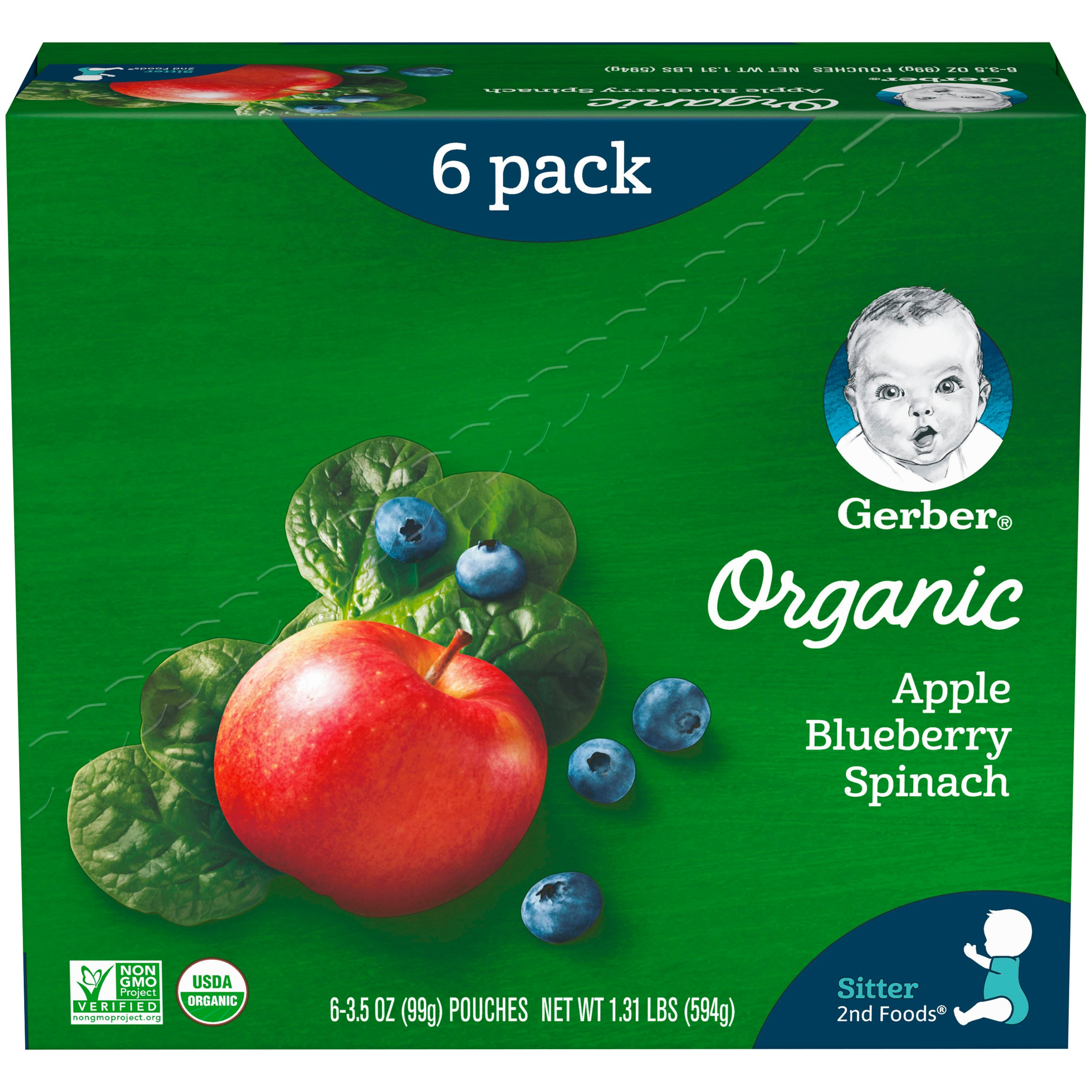 Gerber 2nd Foods Organic Baby Food, Apples, Blueberries & Spinach, 3.5 oz. Pouch (Pack of 6)