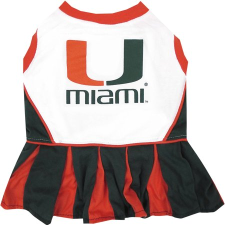 Pets First College Miami Hurricanes Cheerleader, 3 Sizes Pet Dress Available. Licensed Dog Outfit](Dog Cheerleader Outfit)