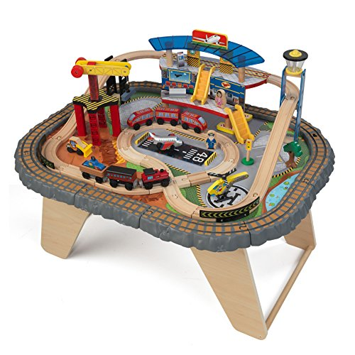 KidKraft 17564.0 Transportation Station Train Set and Table Toy by