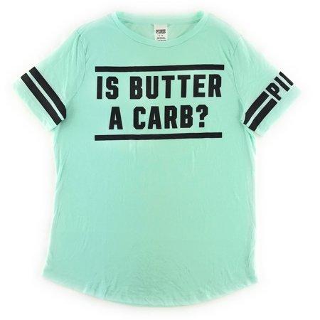 f402fc6694884 Victoria's Secret PINK T-shirt Is Butter a Carb Medium Aqua