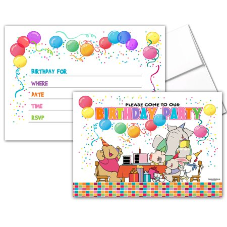 25 Kids Party Invites with Envelopes - Kids Birthday Invitations - - Halloween Invitations Kids