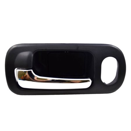 PT Auto Warehouse HO-2572MA-FL - Inner Interior Inside Door Handle, Black Housing with Chrome Lever - with Power Lock Hole, 4-Door Sedan, Driver Side Front Drivers Side Lock Box