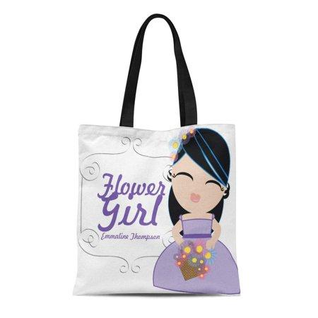 ASHLEIGH Canvas Tote Bag Pink Cute Personalized Flower Girl Wedding Keepsake 15 Purple Reusable Handbag Shoulder Grocery Shopping Bags