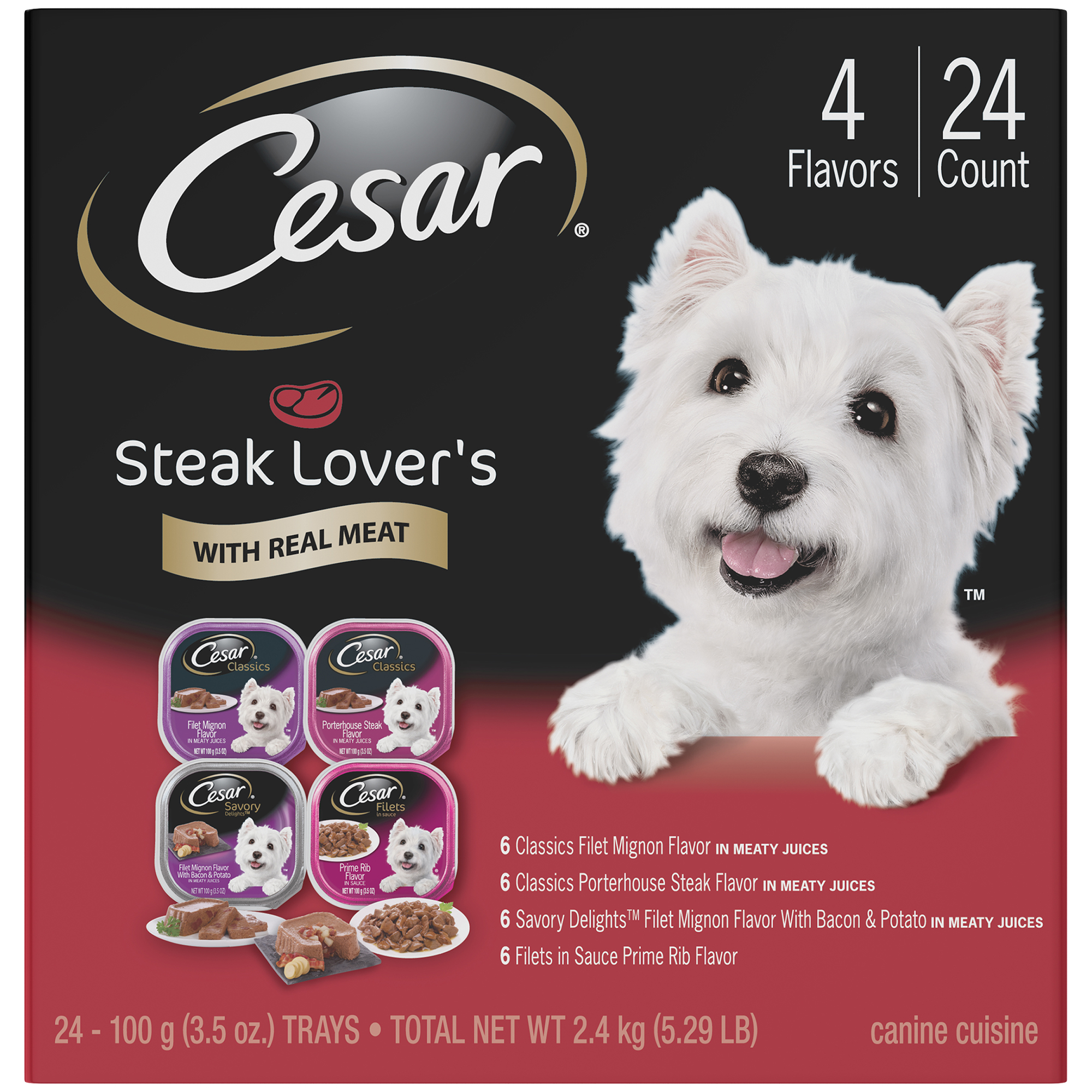 CESAR Adult Wet Dog Food Steak Lover's Variety Pack, (24) 3.5 oz. Trays