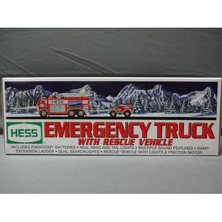 2005 Emergency Truck with Rescue Vehicle, RESCUE VEHICLE WITH LIGHTS AND FRICTION MOTOR By Hess From USA