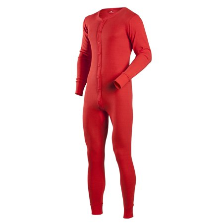 Red Union Suit, 100% Cotton Thermal Underwear - Red Long Underwear