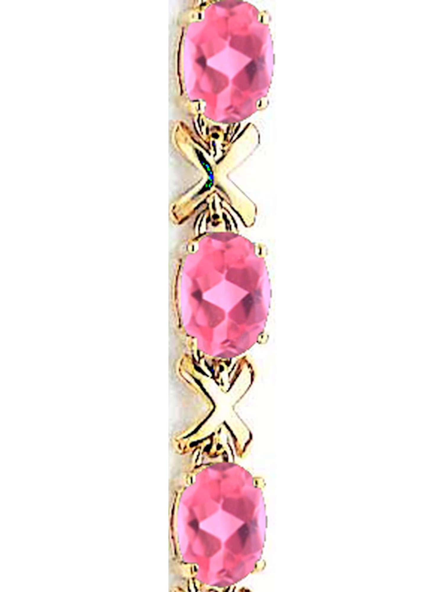 14k Yellow Gold 7x5mm Oval Pink Tourmaline bracelet by