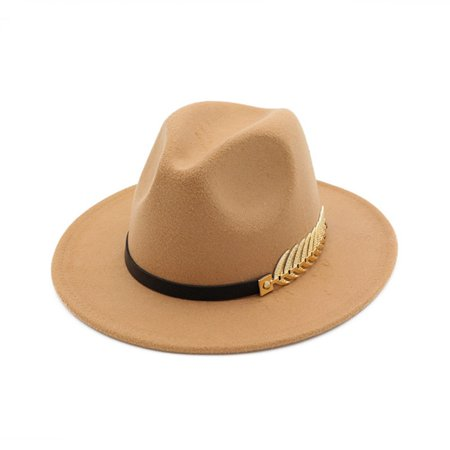 AkoaDa Vintage Women Men Felt Wide Brim Fedoras Hat Trilby Jazz Gangster Cap With Leaf ()