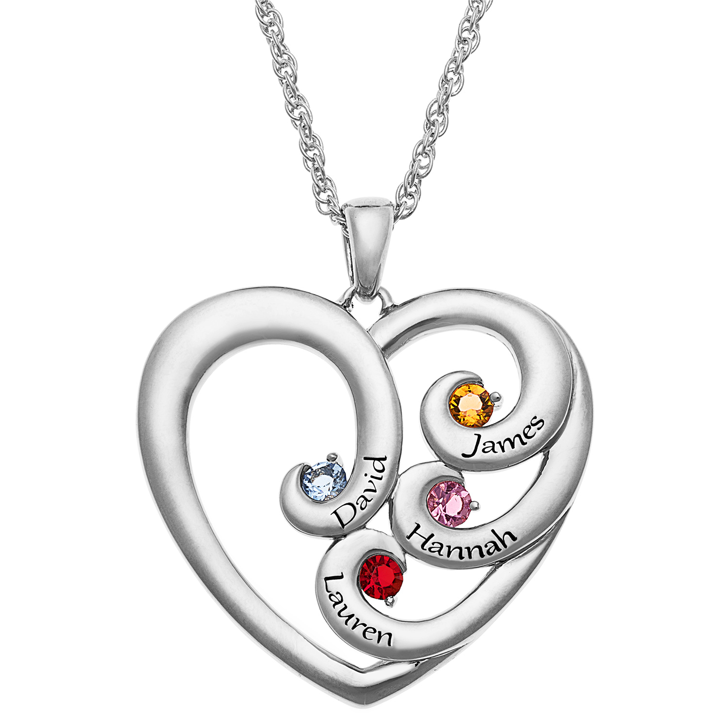 Family Jewelry Personalized Mother's Engraved Heart Silvertone or Goldtone Birthstone Necklace