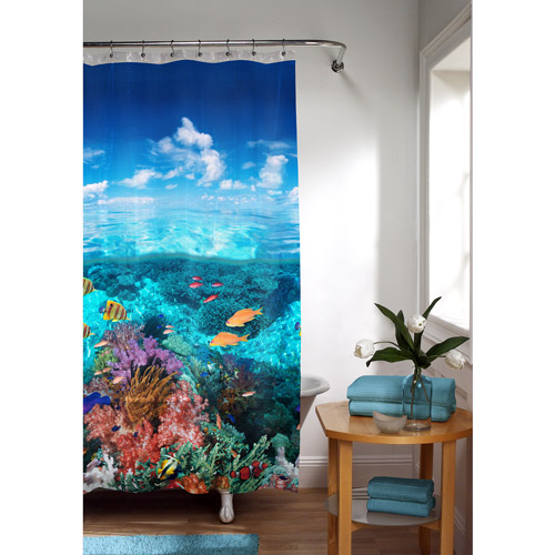 Great Under The Sea Peva Shower Curtain, Blue