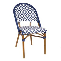 Design Lab MN LS-3002-BLUWHT Aluminum Bamboo Blue Patio Chair