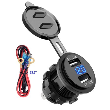 Dual USB Car Charger Socket Waterproof Power Outlet 2.1A & 2.1A with Voltmeter & Wire in-line 10A Fuse for 12-24V Car Boat Motorcycle