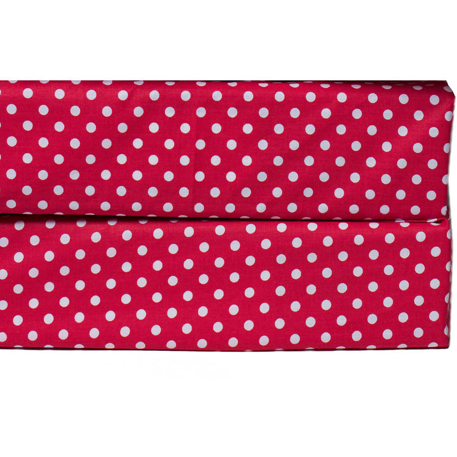 Bacati  -  MixNMatch Pin Dots Crib / Toddler Bed Sheets 100% Cotton Percale, Red, 2 - Pack
