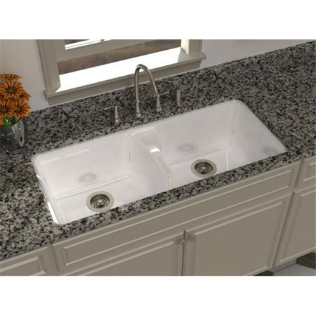 SONG S-8630-9U-61 Two Bowl Undercounter Sink in Biscuit with 9 Faucet Holes