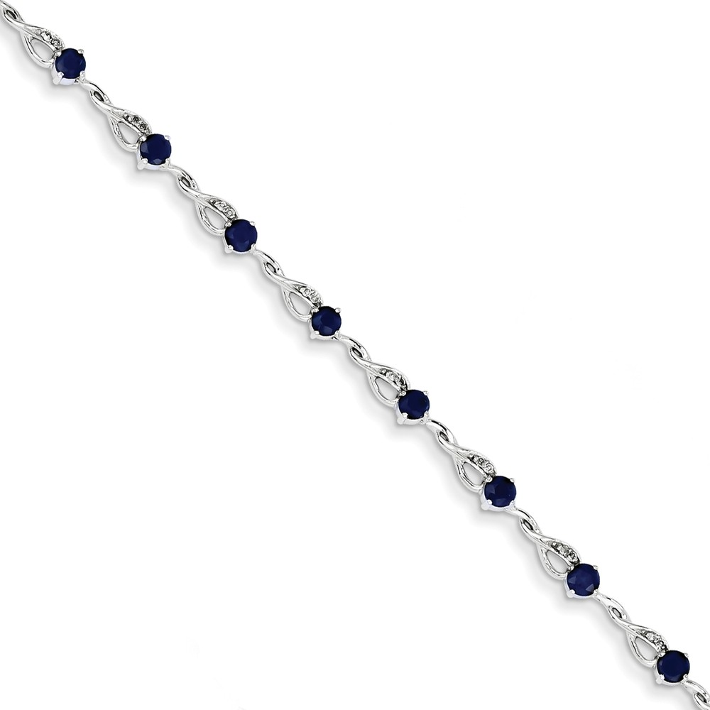 14K White Gold Diamond and Sapphire Bracelet 7inch by Diamond2Deal