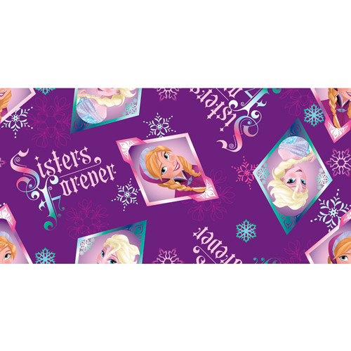 Disney Frozen Sisters Forever Badge Toss Fleece Fabric By The Yard