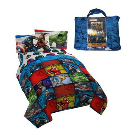 - Avengers Cartoon Characters 4 Piece Kids Twin Bedding Set with Bonus Tote