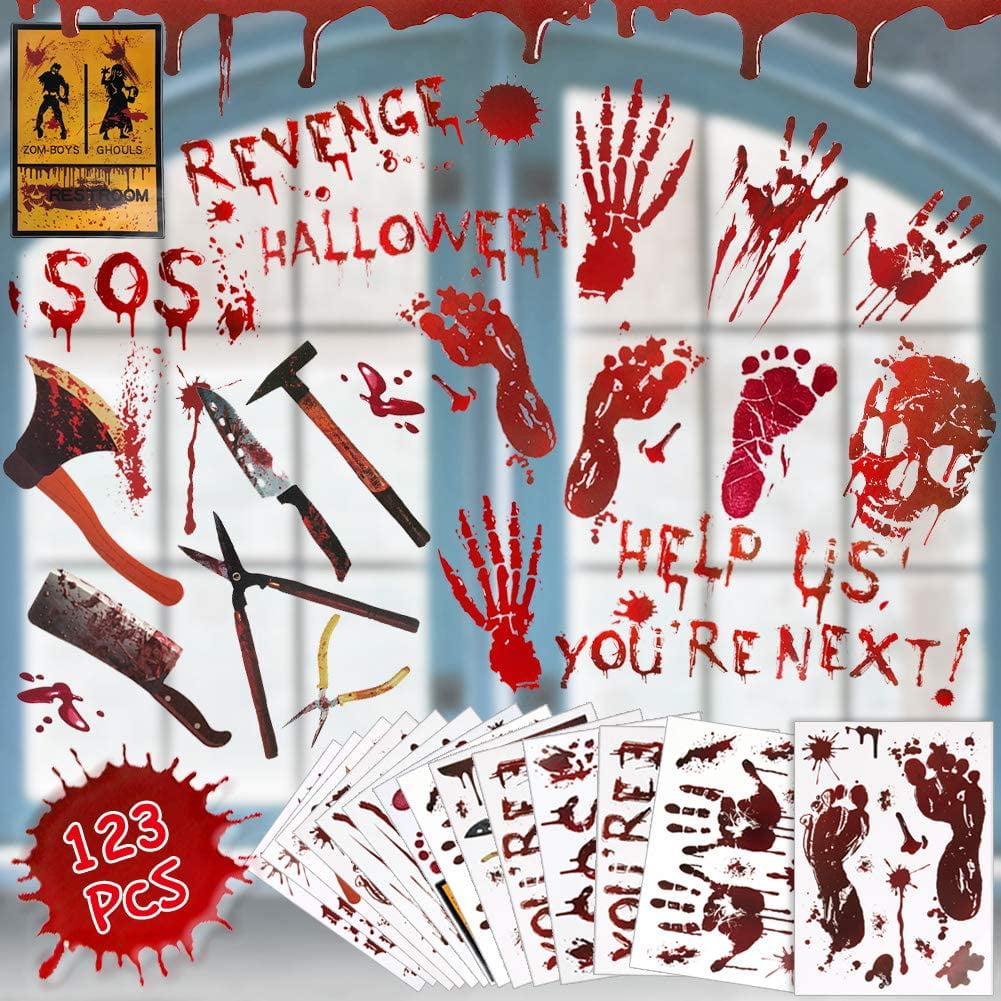 Halloween Bloody Footsteps Floor Decoration Home Horror Scene Haunted House