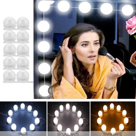 Hollywood Style LED Vanity Mirror Lights Kit with 10 Dimmable Light Bulbs for Makeup Dressing Table and Power Supply Plug in Lighting Fixture Strip – Vanity Mirror Light – White