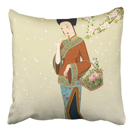 CMFUN China Beautiful Chinese Woman People Vintage Flower Antique Apple Asian Pillowcase Cushion Cover 16x16 inch