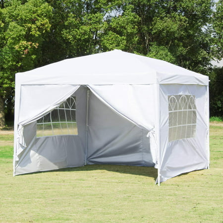 Clearance!Outdoor Party Tent with 3 Side Walls, 10' x 10' Heavy Duty Portable Sunshade Shelter Instant Folding Gazebo Canopy - UV Coated, Waterproof Instant Outdoor Party Gazebo Tent, I7405