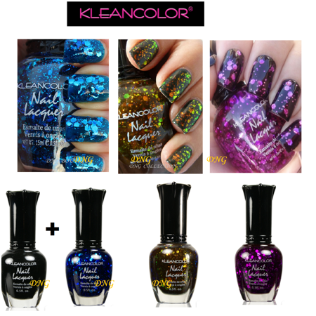 4 pcs Kleancolor FULL SIZE GLITTER Black Purple blue LOT Nail Polish Colors 709](Halloween Glitter Nail Polish)