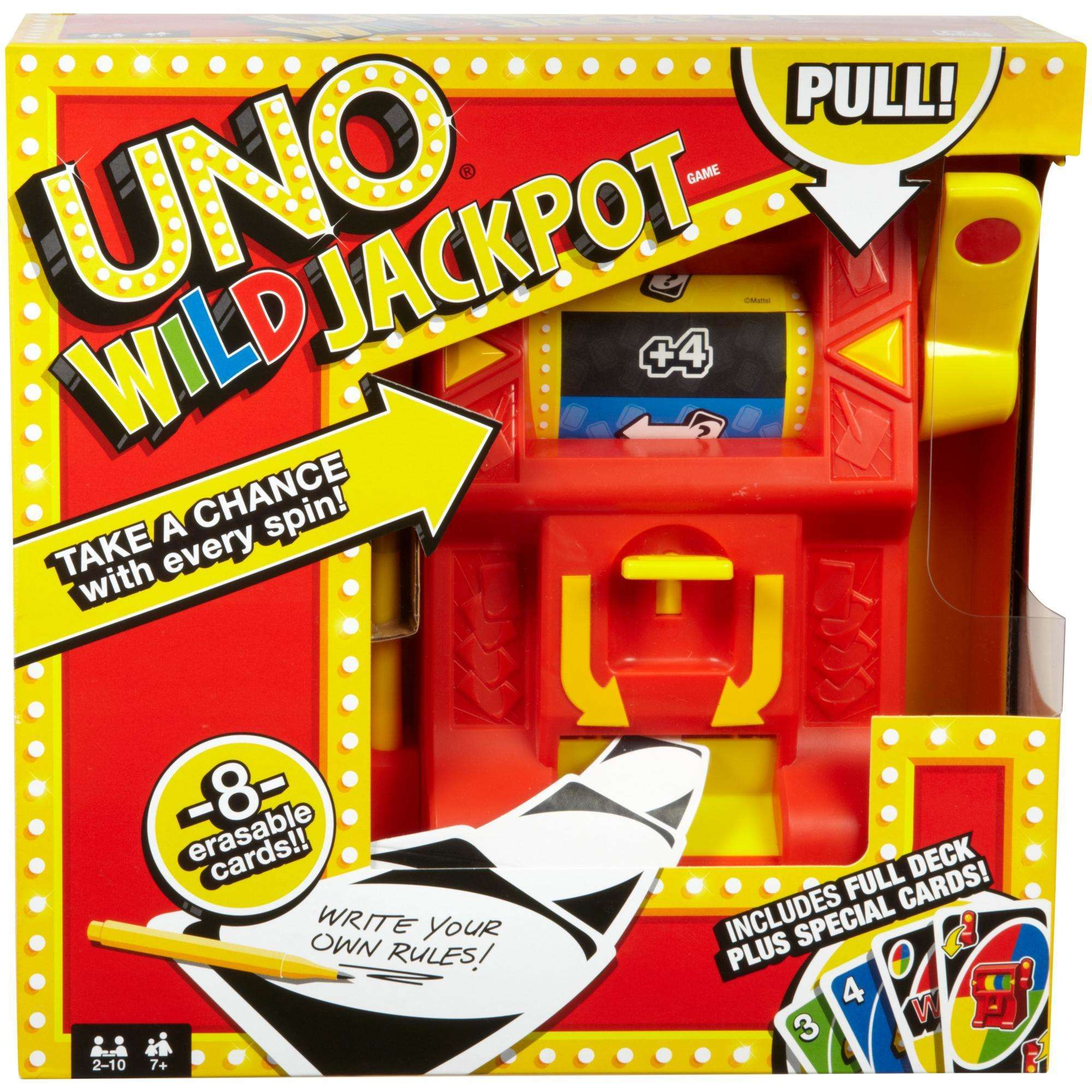 UNO Wild Jackpot Card Game with Wild Roller for 2 to 6 Players Ages 7 Years and Older