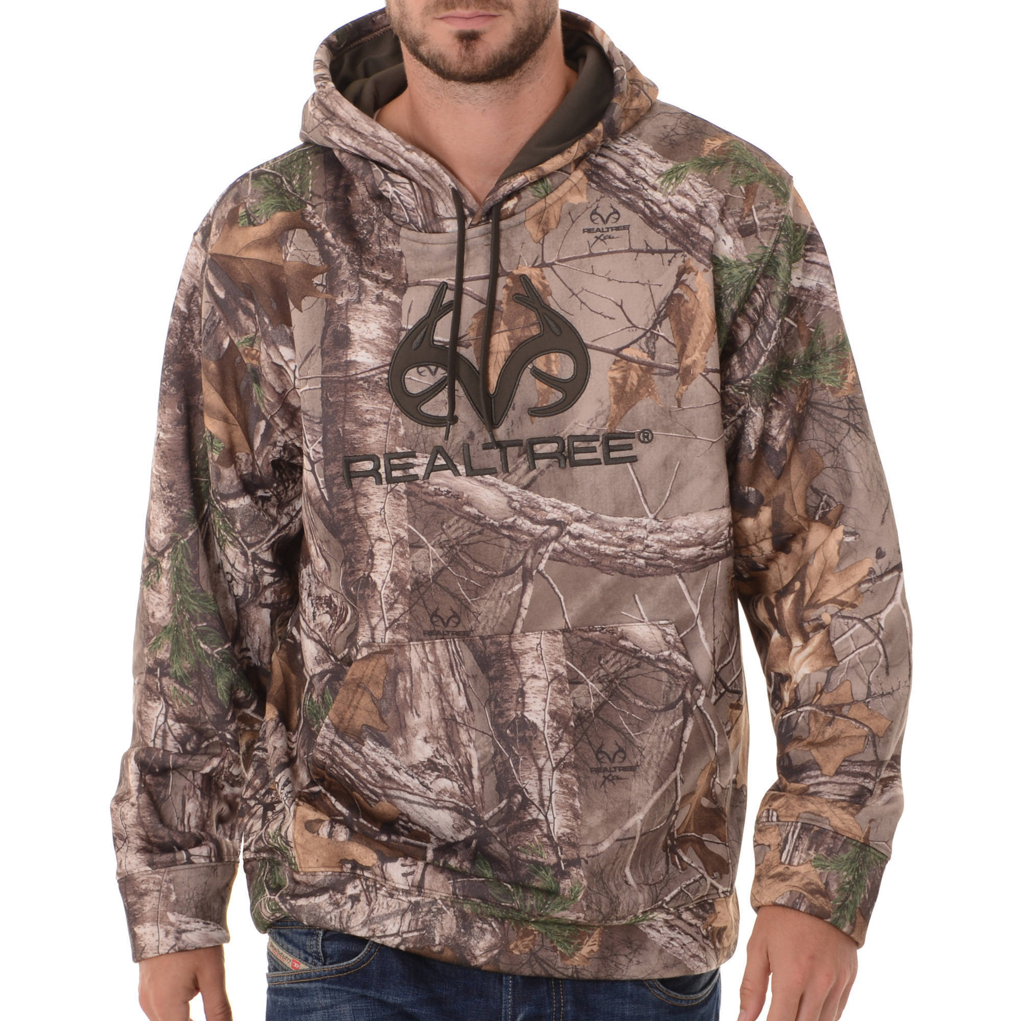 and Mossy Oak Mens Camo Performance Pullover Fleece Hoodie