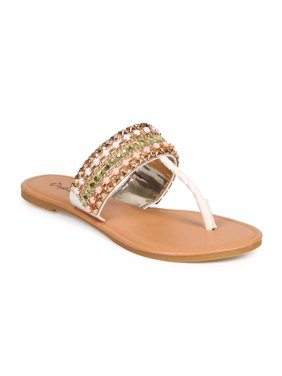 b2a5d81acd0 Product Image Qupid DH40 Women Leatherette T-Strap Jeweled Embellished  Pyramid Studded Thong Sandal