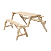 Outsunny 3 Piece Wood Folding Convertible 2 in 1 Picnic Table Bench Set with Umbrella Hole