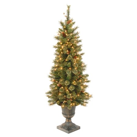 National Tree 4' Glittery Gold Pine Entrance Tree with Berries, Cones and 100 Clear lights in a Dark Bronze Pot ()
