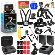 GoPro HERO7 HERO 7 Black All In 1 MEGA ACCESSORY KIT for ALL Occasions W/ 64GB Sandisk, Extra Batteries and Charger, Head Strap, Chest Strap + MUCH MORE